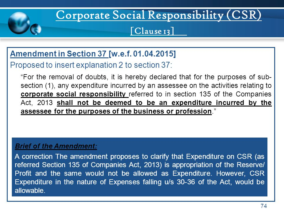 Corporate Social Responsibility (CSR) [Clause 13]